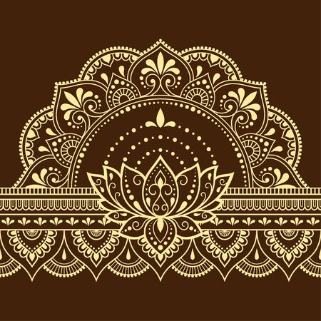 Seamless borders pattern with Mehndi Lotus flower for Henna drawing and tattoo. Decoration in ethnic oriental, Indian style. Doodle ornament. Outline hand draw vector illustration. Ilustrace