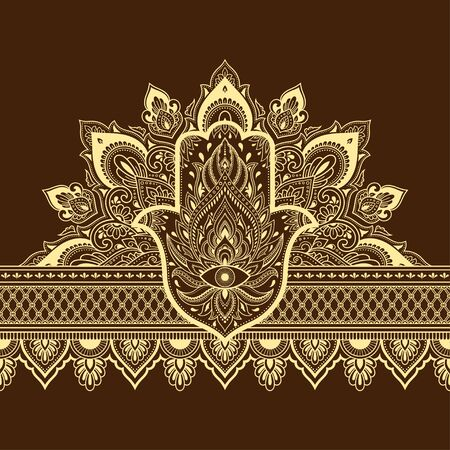 Seamless borders pattern with Mehndi flower and Hamsa for Henna drawing and tattoo. Decoration in ethnic oriental, Indian style. Doodle ornament. Outline hand draw vector illustration.