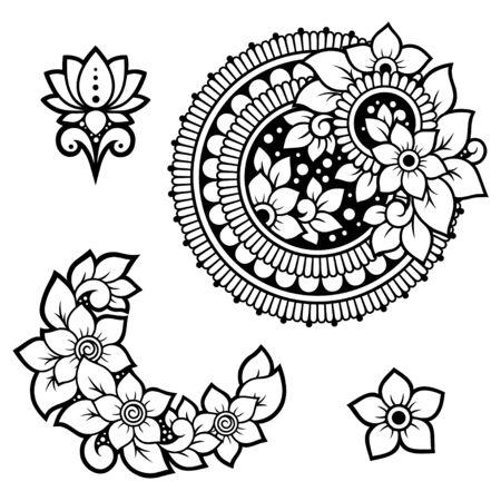 Conjunto de patrón de flores Mehndi y mandala para dibujo y tatuaje de henna. Decoración en estilo étnico oriental, indio. Adorno de Doodle. Ilustración de vector de dibujo a mano de contorno.