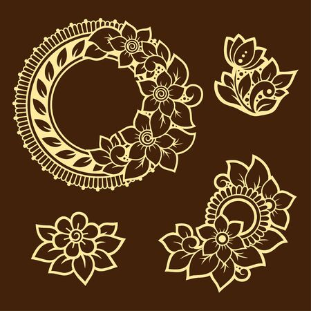 Set of Mehndi flower pattern and frame for Henna drawing and tattoo. Decoration in ethnic oriental, Indian style. Doodle ornament. Outline hand draw vector illustration. Ilustrace
