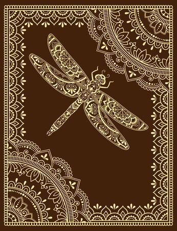 Stylized with henna tattoos decorative pattern for decorating covers book, notebook, casket, postcard and folder. Mandala, flower, dragonfly and border in mehndi style. Frame in the eastern tradition.