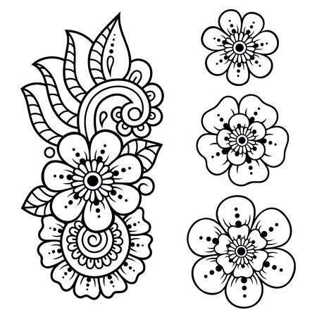 Set of Mehndi flower pattern for Henna drawing and tattoo. Decoration in ethnic oriental, Indian style. Doodle ornament. Outline hand draw vector illustration.
