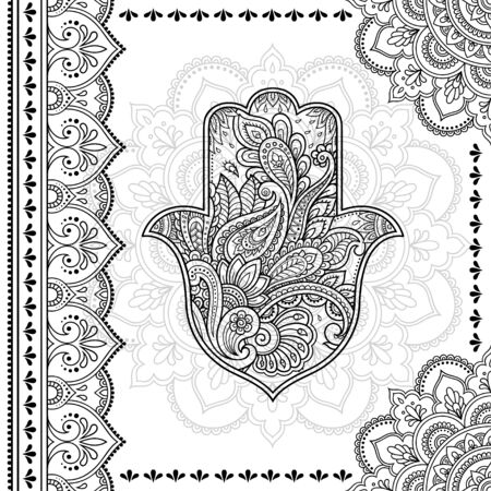 Stylized with henna tattoo decorative pattern for decorating covers book, notebook, casket, postcard and folder. Mandala, Hamsa and border in mehndi style. Frame in the eastern tradition. Ilustrace