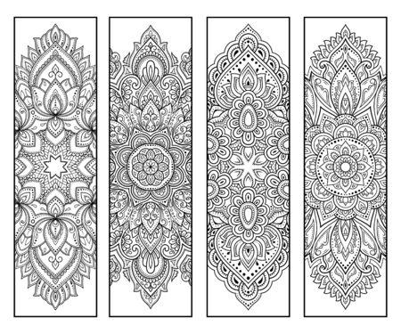 Marque-page imprimable pour livre - coloriage. Ensemble d'étiquettes en noir et blanc avec des motifs de fleurs, dessin à la main dans le style mehndi. Croquis d'ornements pour la créativité des enfants et des adultes avec des crayons de couleur. Vecteurs