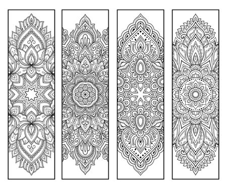 Printable bookmark for book - coloring. Set of black and white labels with flower patterns, hand draw in mehndi style. Sketch of ornaments for creativity of children and adults with colored pencils. Vector Illustratie