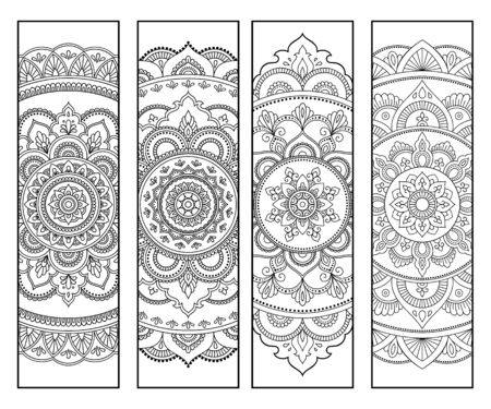 Printable bookmark for book - coloring. Set of black and white labels with flower patterns, hand draw in mehndi style. Sketch of ornaments for creativity of children and adults with colored pencils. Ilustrace