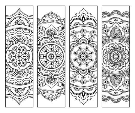 Marcador imprimible para libro - colorear. Conjunto de etiquetas en blanco y negro con motivos florales, dibujo a mano en estilo mehndi. Boceto de adornos para la creatividad de niños y adultos con lápices de colores.