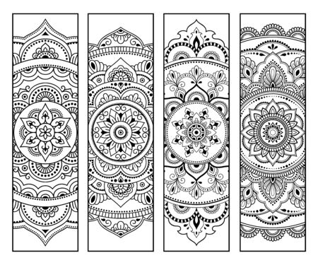 Printable bookmark for book - coloring. Set of black and white labels with flower patterns, hand draw in mehndi style. Sketch of ornaments for creativity of children and adults with colored pencils.