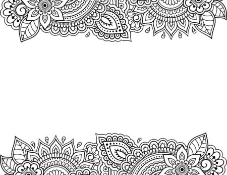 Stylized with henna tattoos decorative pattern for decorating covers for book, notebook, casket, magazine, postcard and folder. Flower in mehndi style. Frame in the eastern tradition. Ilustrace