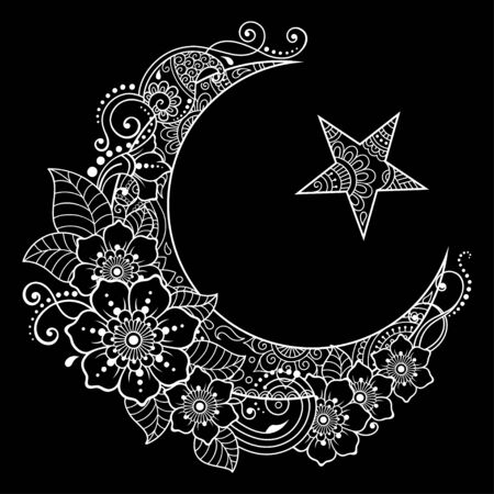 Religious Islamic symbol of the Star and the Crescent with flower in mehndi style. Decorative sign for making and tattoos. Eastern Muslim signifier.
