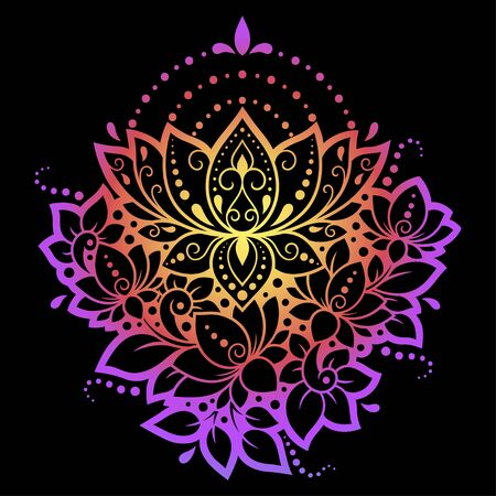 Colorful floral pattern for Mehndi and Henna drawing. Hand-draw lotus symbol. Decoration in ethnic oriental, Indian style. Rainbow design on black background. Ilustrace