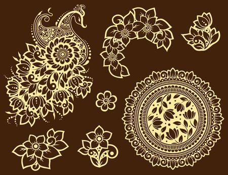 Grand ensemble de motifs de fleurs Mehndi, paon et mandala pour le dessin et le tatouage au henné. Décoration de style ethnique oriental, indien. Ornement de griffonnage. Décrire l'illustration vectorielle de tirage à la main.