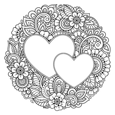 Circular pattern in form of mandala with frame in shape of heart. Decorative ornament in ethnic oriental mehndi style. Outline doodle hand draw vector illustration. Antistress coloring book page. Banque d'images - 138369065