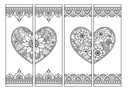 Marque-page imprimable pour livre - coloriage. Ensemble d'étiquettes noires et blanches avec des motifs de coeur et de fleurs dans le style mehndi. Croquis d'ornements pour la créativité des enfants et des adultes avec des crayons de couleur.
