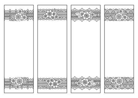 Marque-page pour livre - coloriage. Ensemble d'étiquettes en noir et blanc avec des motifs floraux de griffonnage, dessin à la main dans le style mehndi. Croquis d'ornements pour la créativité des enfants et des adultes avec des crayons de couleur. Vecteurs