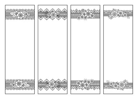 Bookmark for book - coloring. Set of black and white labels with floral doodle patterns, hand draw in mehndi style. Sketch of ornaments for creativity of children and adults with colored pencils. Vecteurs