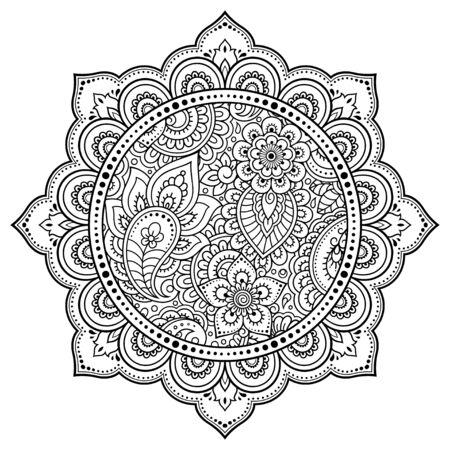 Modello circolare a forma di mandala con fiore per henné, mehndi, tatuaggio, decorazione. Ornamento decorativo in stile etnico orientale. Illustrazione di vettore di tiraggio della mano di doodle di contorno.