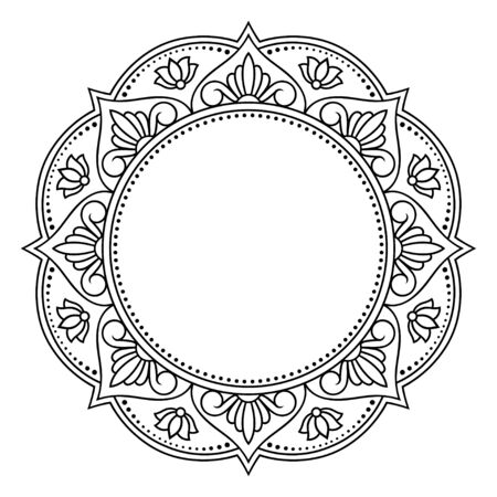 Frame in eastern tradition. Stylized with henna tattoo decorative pattern for decorating covers for book, notebook, casket, magazine, postcard and folder. Mandala in mehndi style.