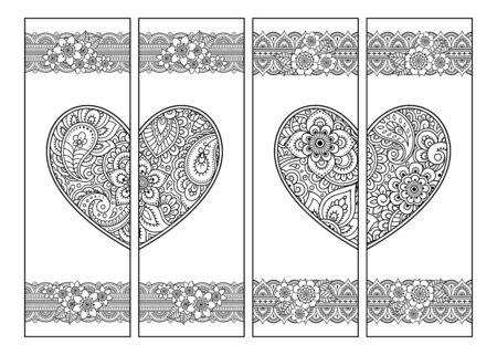 Marque-page imprimable pour livre - coloriage. Ensemble d'étiquettes en noir et blanc avec des motifs de coeur et de fleurs dans le style mehndi. Croquis d'ornements pour la créativité des enfants et des adultes avec des crayons de couleur. Vecteurs