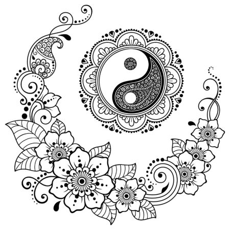 Circular mandala pattern for henna, mehndi, tattoo, decoration. Decorative ornament in Oriental style with Yin-Yang hand drawn symbol, flowers and ethnic floral ornaments. Coloring book page.