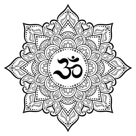 Circular pattern in form of mandala for Henna, Mehndi, tattoo, decoration. Decorative ornament in oriental style with ancient Hindu mantra OM. Outline doodle vector illustration.