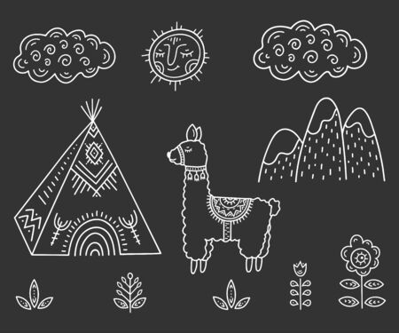 Funny Cartoon children's coloring. Lama about Indian homes Tipi in the mountains among flowers under smiling sun and cloud. Scandinavian style children's drawing. Folk art. Stylization of chalk drawing.