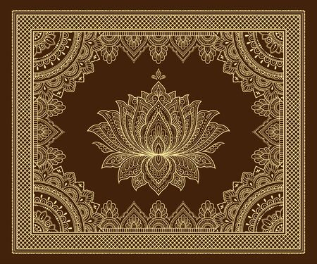 Stylized with henna tattoo decorative pattern for decorating covers book, notebook, casket, postcard and folder. Mandala, Lotus flower and border in mehndi style. Frame in the eastern tradition. Ilustracja