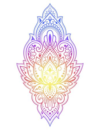 Colorful floral pattern for Mehndi and Henna drawing. Hand-draw lotus symbol. Decoration in ethnic oriental, Indian style. Rainbow design on black background. Ilustracja