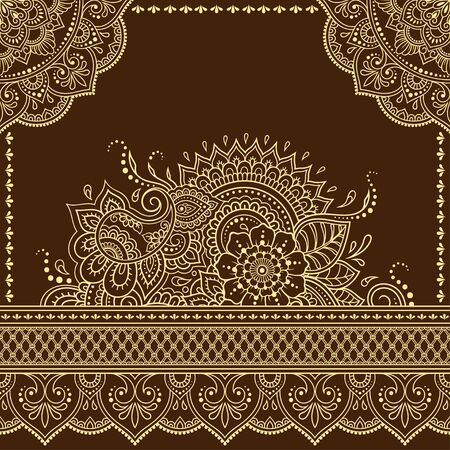 Stylized with henna tattoo decorative pattern for decorating covers book, notebook, casket, postcard and folder. Mandala, flower and border in mehndi style. Frame in the eastern tradition. Ilustracja