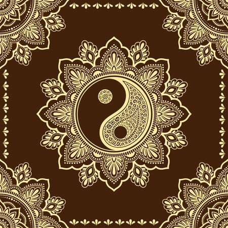 Circular pattern in form of mandala for Henna, Mehndi, tattoo, decoration. Decorative ornament in ethnic oriental style with Yin-yang hand drawn symbol. Outline doodle vector illustration.