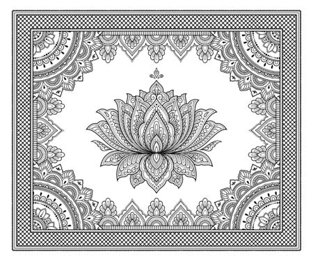 Stylized with henna tattoo decorative pattern for decorating covers book, notebook, casket, postcard and folder. Mandala, Lotus flower and border in mehndi style. Frame in the eastern tradition. Illusztráció
