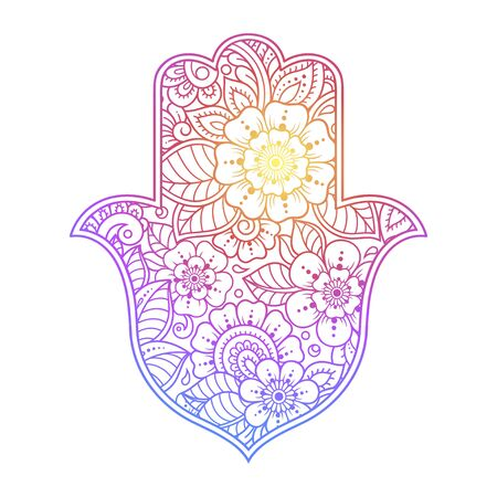 Colorful Hamsa hand drawn symbol with flower. Decorative pattern in oriental style for interior decoration and henna drawings. The ancient sign of