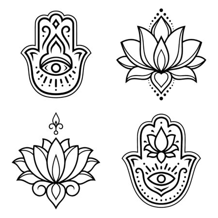 Set of Hamsa hand drawn symbol with lotus flower. Decorative pattern in oriental style for interior decoration and henna drawings. The ancient sign of