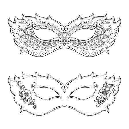 Set of beautiful festival masks for celebrating Halloween, New year, Brazilian, Mardi Gras or a party. Elements of women's holiday costume. Isolated outline with floral pattern. Illusztráció