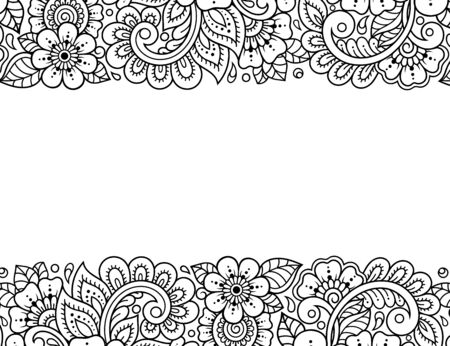 Stylized with henna tattoos decorative pattern for decorating covers for book, notebook, casket, magazine, postcard and folder. Flower in mehndi style. Frame in the eastern tradition. Illusztráció
