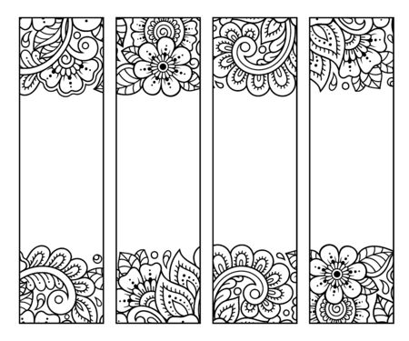 Printable bookmark for book - coloring. Set of black and white labels with flower patterns, hand draw in mehndi style. Sketch of ornaments for creativity of children and adults with colored pencils. Vecteurs