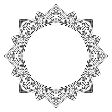 Frame in eastern tradition. Stylized with henna tattoo decorative pattern for decorating covers for book, notebook, casket, magazine, postcard and folder. Mandala in mehndi style. Векторная Иллюстрация