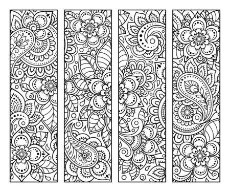 Marque-page pour livre - coloriage. Ensemble d'étiquettes en noir et blanc avec des motifs floraux de griffonnage, dessin à la main dans le style mehndi. Croquis d'ornements pour la créativité des enfants et des adultes avec des crayons de couleur.