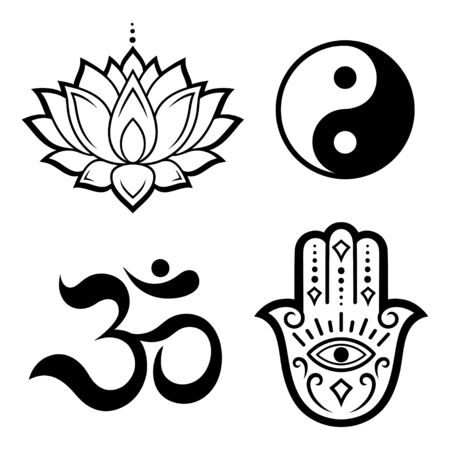 Set of Hamsa hand drawn symbol, lotus flower, Yin-Yang and OM sigils. Decorative pattern in oriental style for interior decoration and henna drawings. The ancient sign of