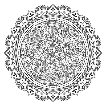 Circular pattern in form of mandala with flower for Henna, Mehndi, tattoo, decoration. Decorative ornament in ethnic oriental style. Outline doodle hand draw vector illustration. Vetores