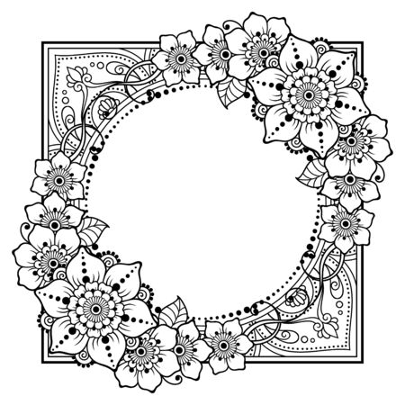 Stylized with henna tattoo decorative pattern for decorating covers book, notebook, casket, postcard and folder. Flower and border in mehndi style. Frame in the eastern tradition.