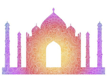 Silhouette of the Taj Mahal are filled with flowers in mehndi style. Islamic mausoleum in India. Muslim mosque architectural structure. Vector illustration. Rainbow design on white background.