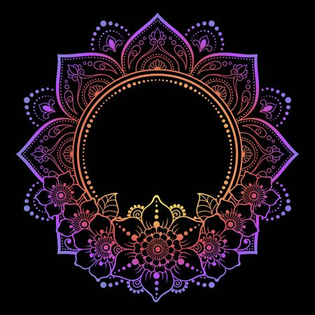 Circular pattern in form of mandala with flower for Henna, Mehndi, tattoo, decoration. Decorative ornament in ethnic oriental style. Rainbow design on black background.