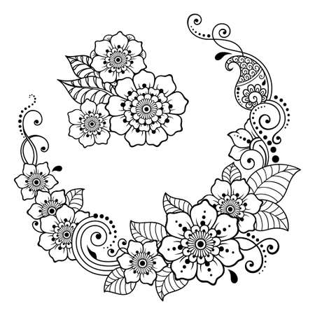 Set of Mehndi flower pattern for Henna drawing and tattoo. Decoration in ethnic oriental, Indian style. Doodle ornament. Outline hand draw vector illustration. 免版税图像 - 151143143