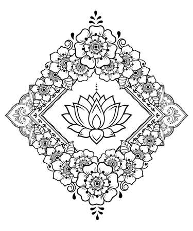 Stylized with henna tattoo decorative pattern for decorating covers book, notebook, casket, postcard and folder. Mandala, Lotus flower and border in mehndi style. Frame in the eastern tradition. 矢量图像