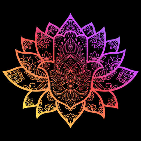 Colorful Hamsa hand drawn symbol with lotus flower. Decorative pattern in oriental style for interior decoration. The ancient sign of