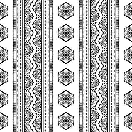 Seamless borders with mandala for design, application of henna, Mehndi and tattoo. Decorative pattern in ethnic oriental, Indian style. Doodle ornament. Outline hand draw vector illustration. 免版税图像 - 151143146