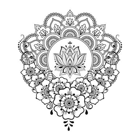 Circular pattern in form of mandala with lotus flower for Henna, Mehndi, tattoo, decoration. Decorative ornament in ethnic oriental style. Outline doodle hand draw vector illustration. 免版税图像 - 151143150