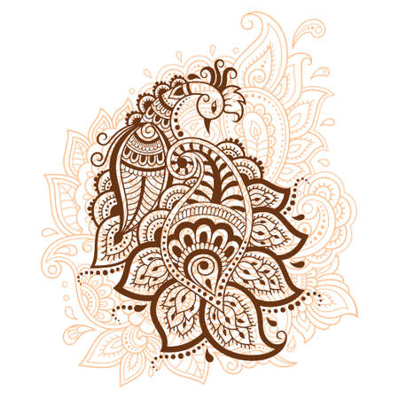 Mehndi flower pattern with peacock for Henna drawing and tattoo. Decoration in ethnic oriental, Indian style. Doodle ornament. Outline hand draw vector illustration.
