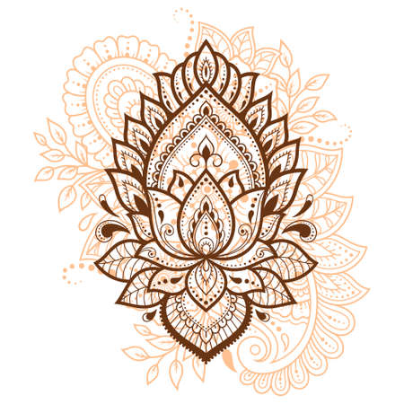 Lotus mehndi flower pattern for Henna drawing and tattoo. Decoration in oriental, Indian style. Doodle ornament. Outline hand draw vector illustration. 矢量图像